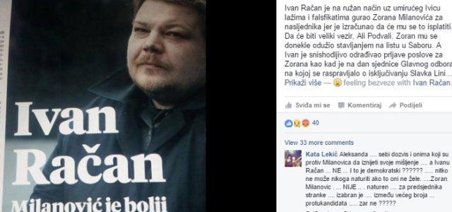 'Ivan RAČAN snishodljivo odrađuje prljavštine za ZORANA. Nada se biti veliki vezir SDP-a'