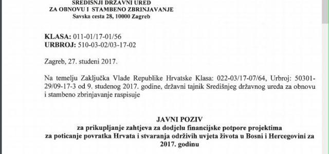 Republika Hrvatska daje NOVČANE POTPORE projektima koji POTIČU POVRATAK Hrvata u BiH