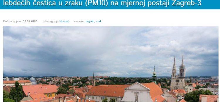 ZRAK U ZAGREBU je LOŠ ili VRLO LOŠ; građanima se savjetuje izbjegavanje tjelesne aktivnosti na otvorenom!