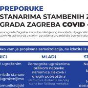Grad Zagreb preporučio predstavnicima stanara da uvedu pomoć ugroženima, starijima i bolesnima