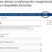 ZA ISELJENIKE I STRANCE: On-line obrazac za informacije o mogućnostima ulaska u Hrvatsku
